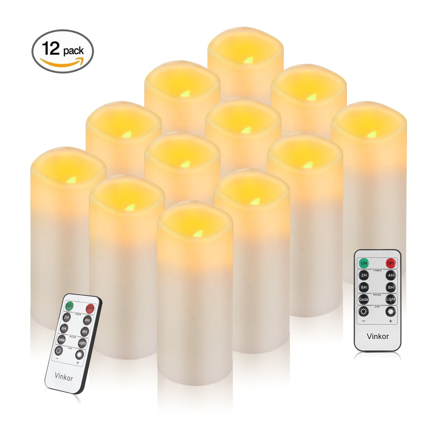 get quotations a vinkor flameless candles battery operated candles set of 12 ivory real wax pillar led candles with