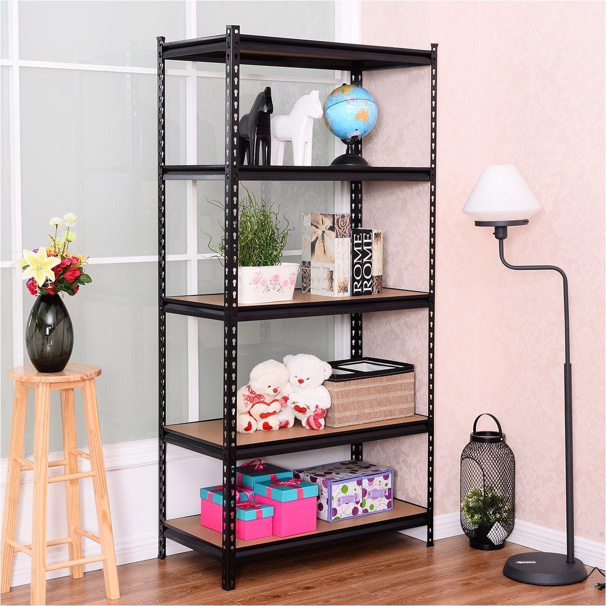 costway 72 5 level heavy duty shelf garage steel metal storage rack adjustable shelves black
