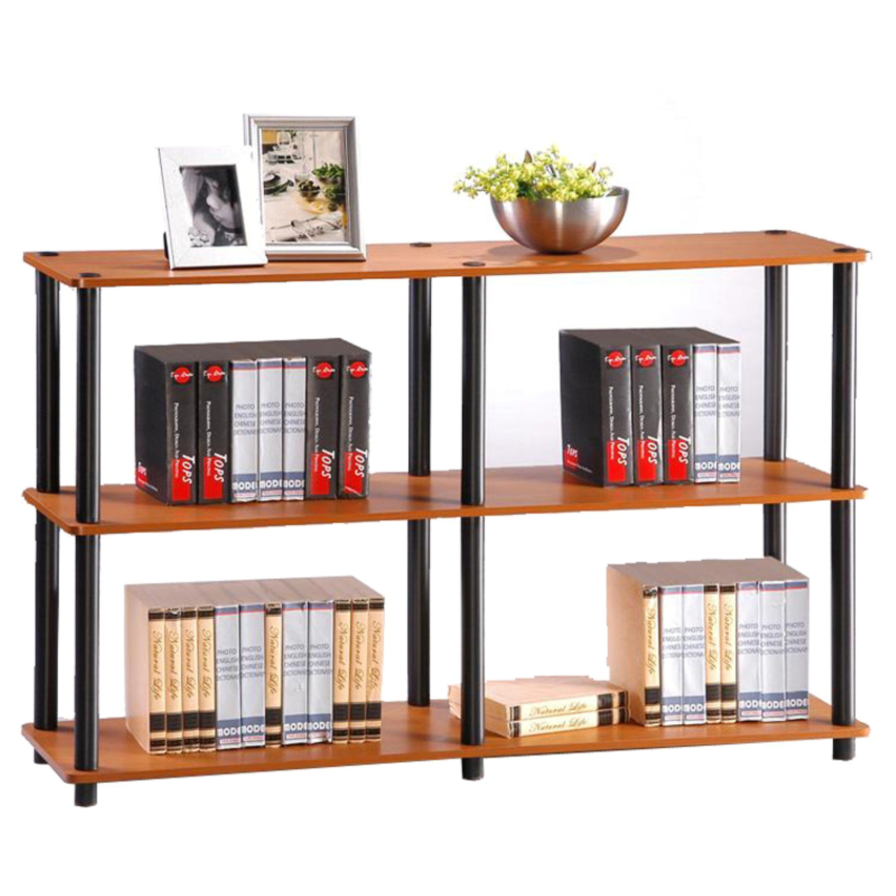 furinno turn n tube 3 tier open back standard bookcase 99130lc bk