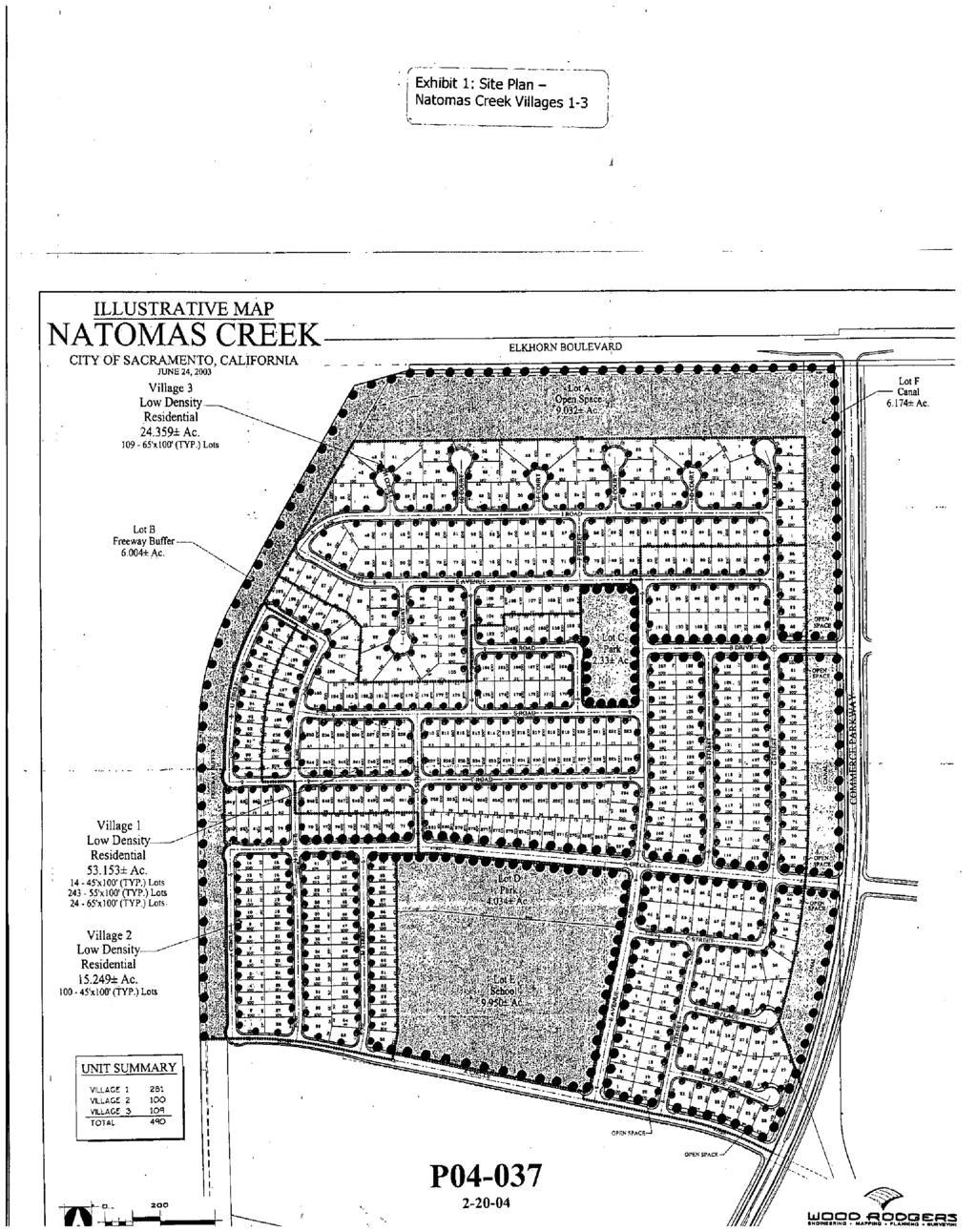 exhibit 1 site plan natomas creek villages 1 3 llustratve map natomas creek cty