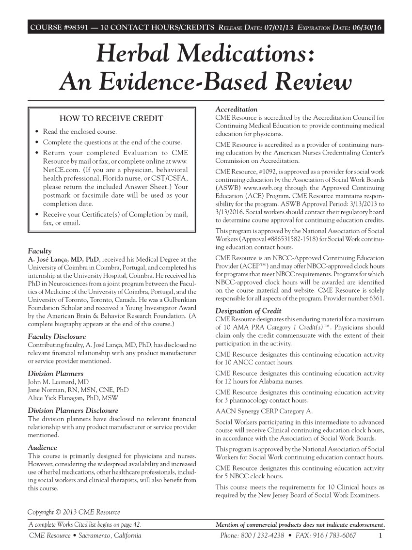 a j herbal medications an evidence based review 3rd edition cme resource sacramento ca usa http www netce com 942 course 98391 pdf 52 pages