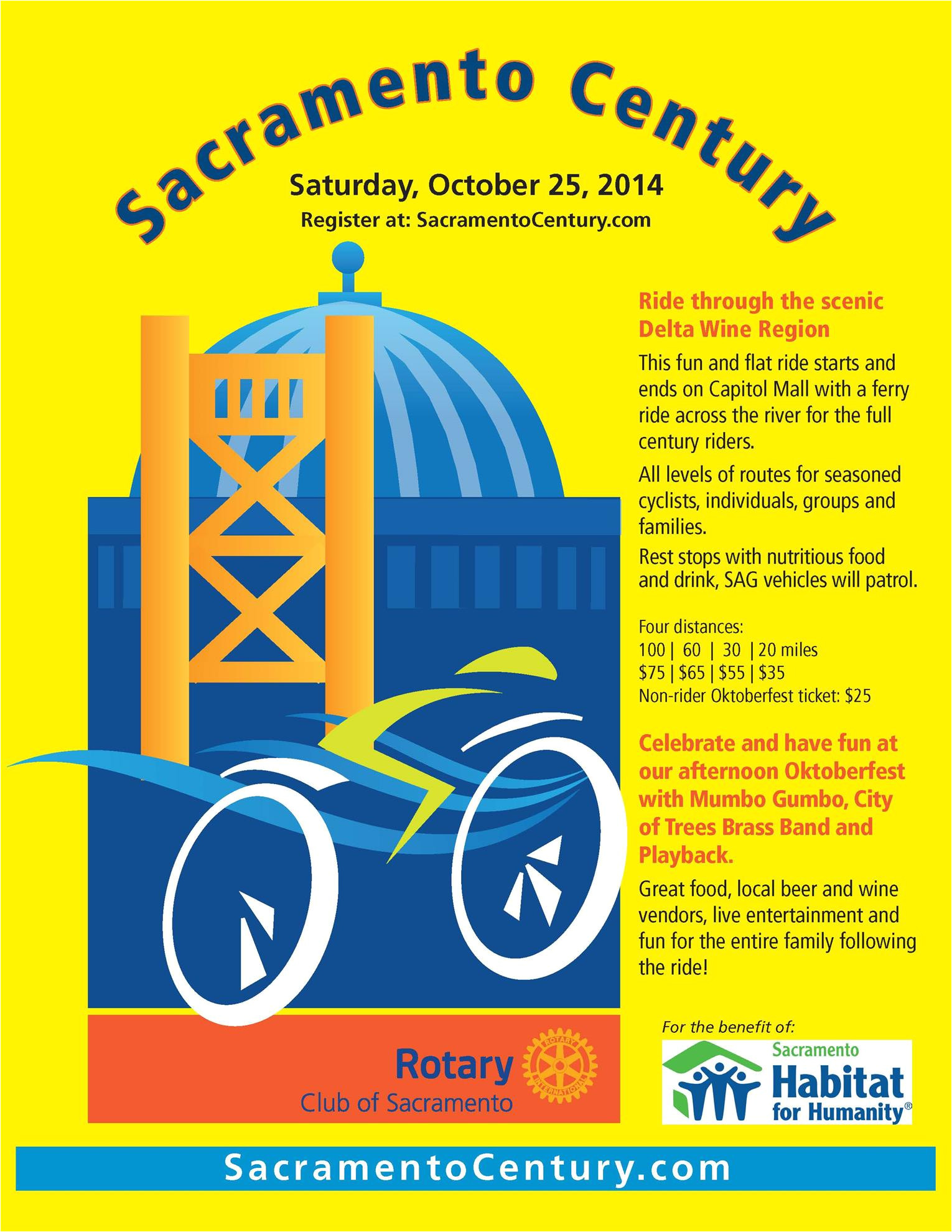 the rotary club of sacramento is pleased to announce its inaugural sacramento century bicycle ride taking place on saturday october 25 2014 on capitol