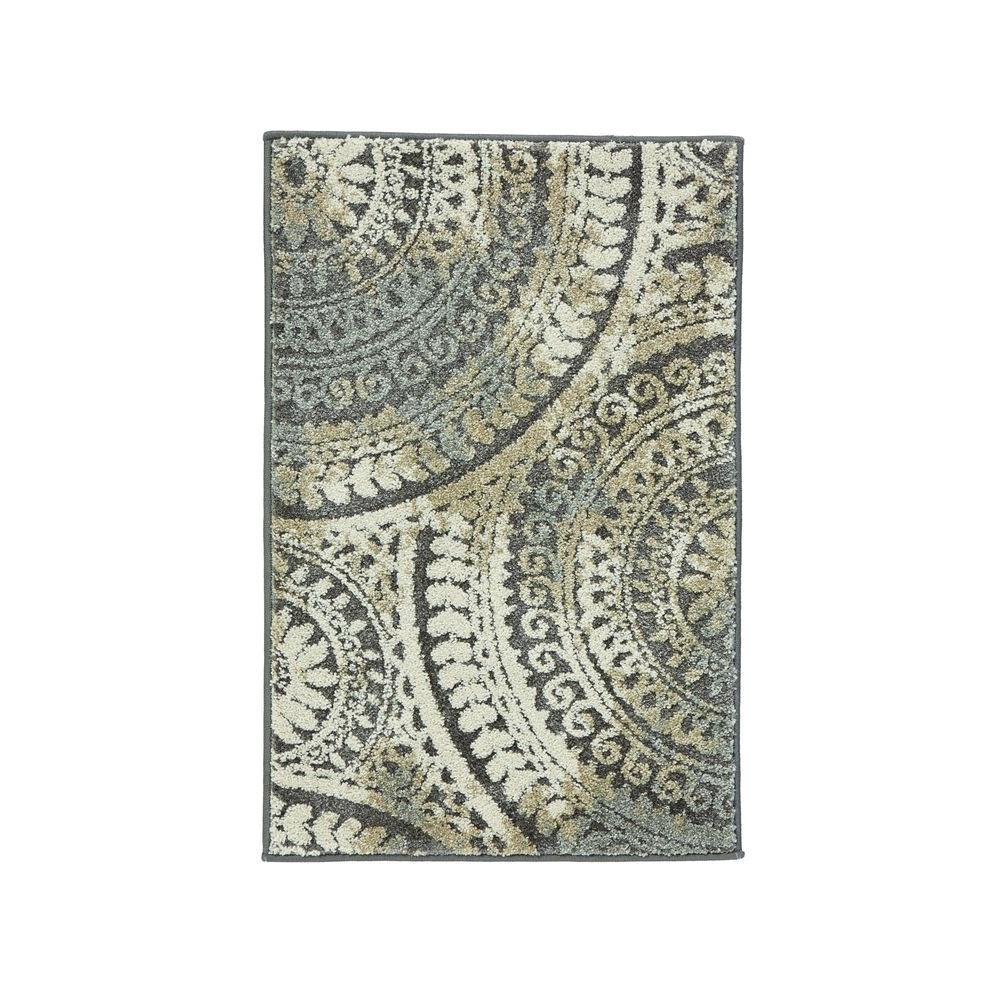 spiral medallion gray 3 ft x 5 ft area rug