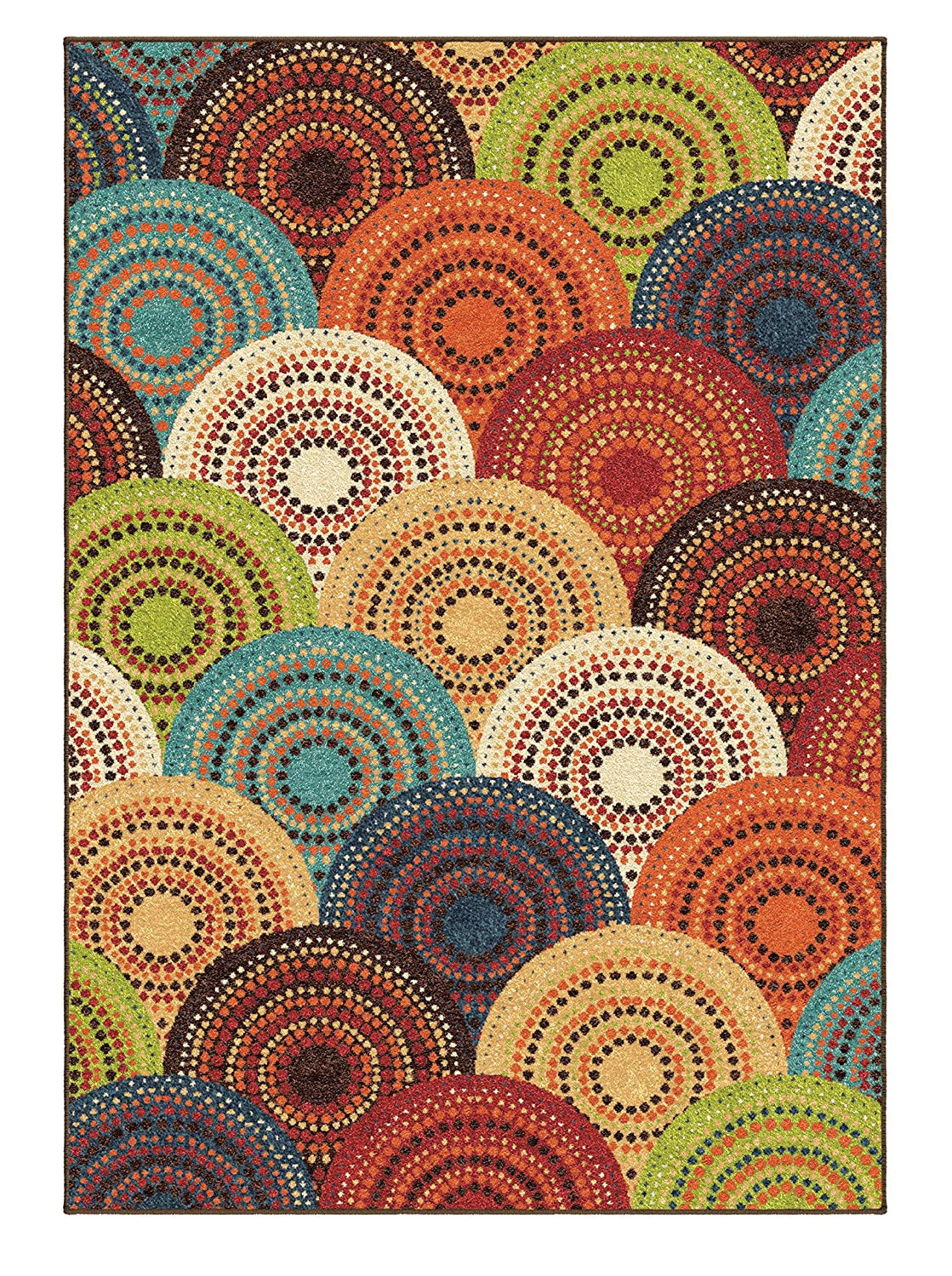 amazon com area rug contemporary style multi color carpet red green yellow dots 5 3 x 7 6 kitchen dining