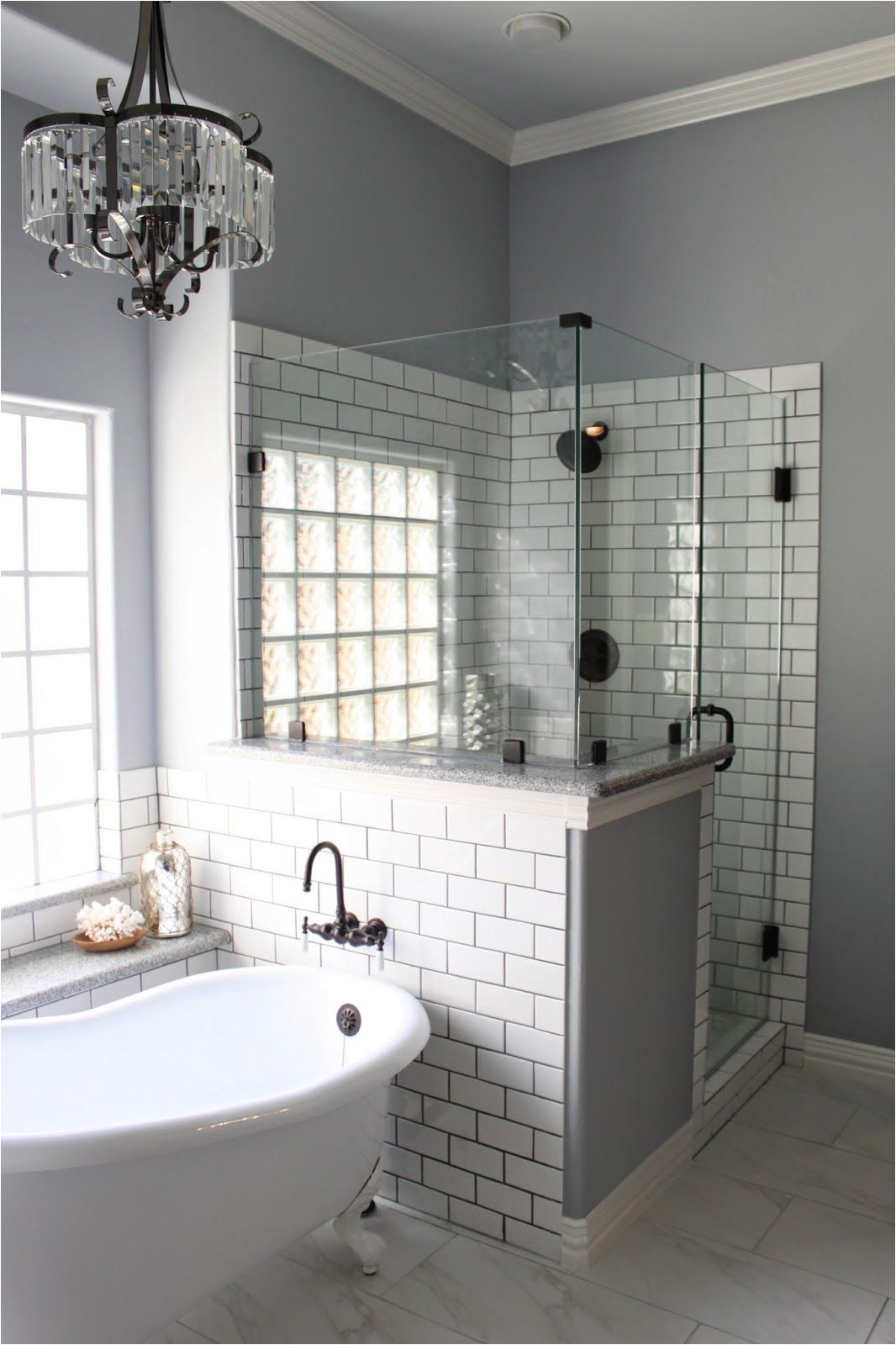white subway tile with gray grout i d like this with all glass block