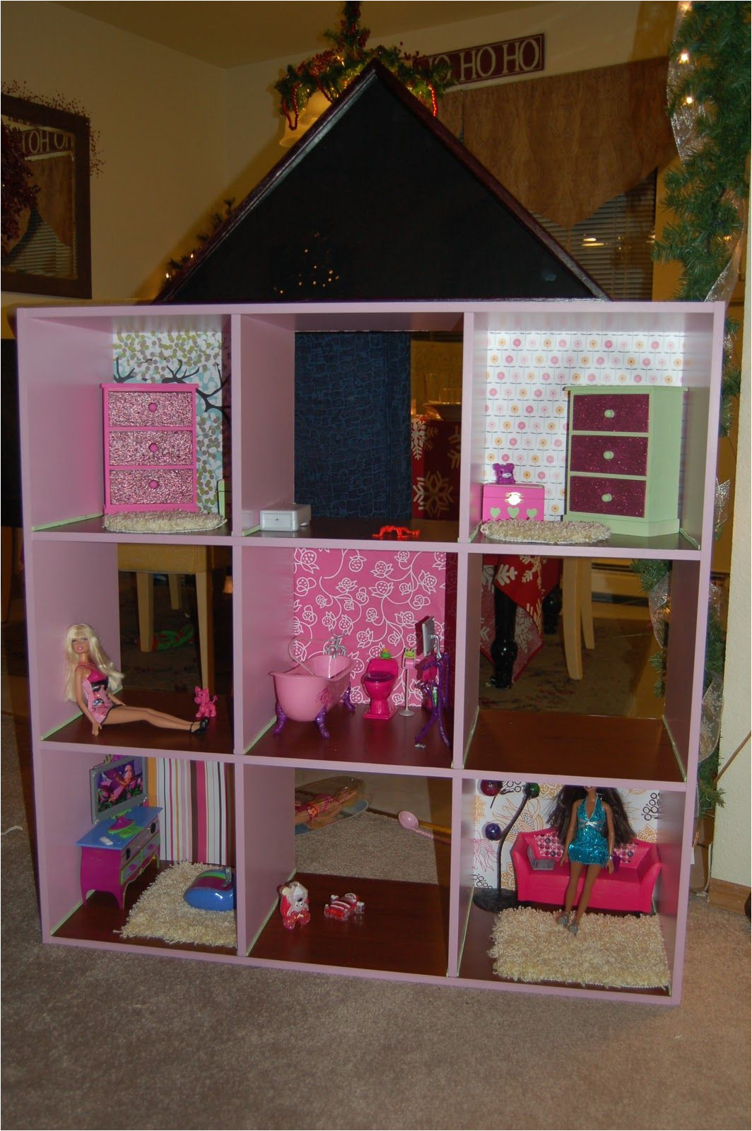 diy dvd shelf to barbie doll house for a roof we used a flag case from michael s craft store