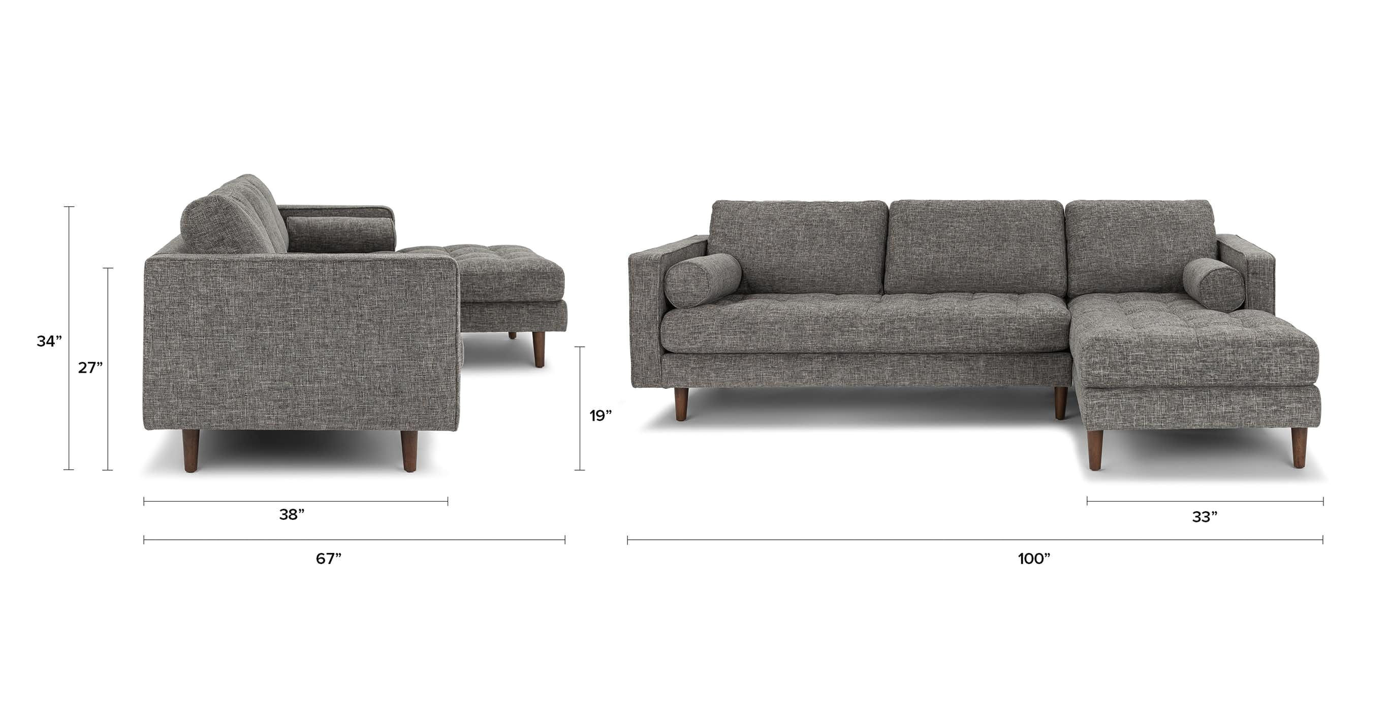 90 Inch Sectional Sofa Gray Right Sectional Sofa Tufted Article Sven