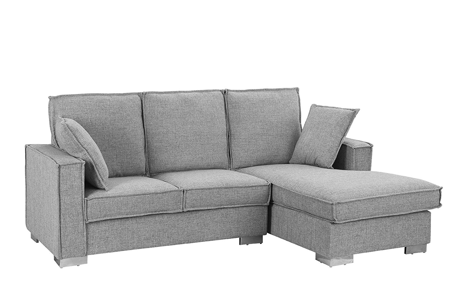 amazon com classic linen fabric sectional sofa small space l shape couch with chaise light grey kitchen dining