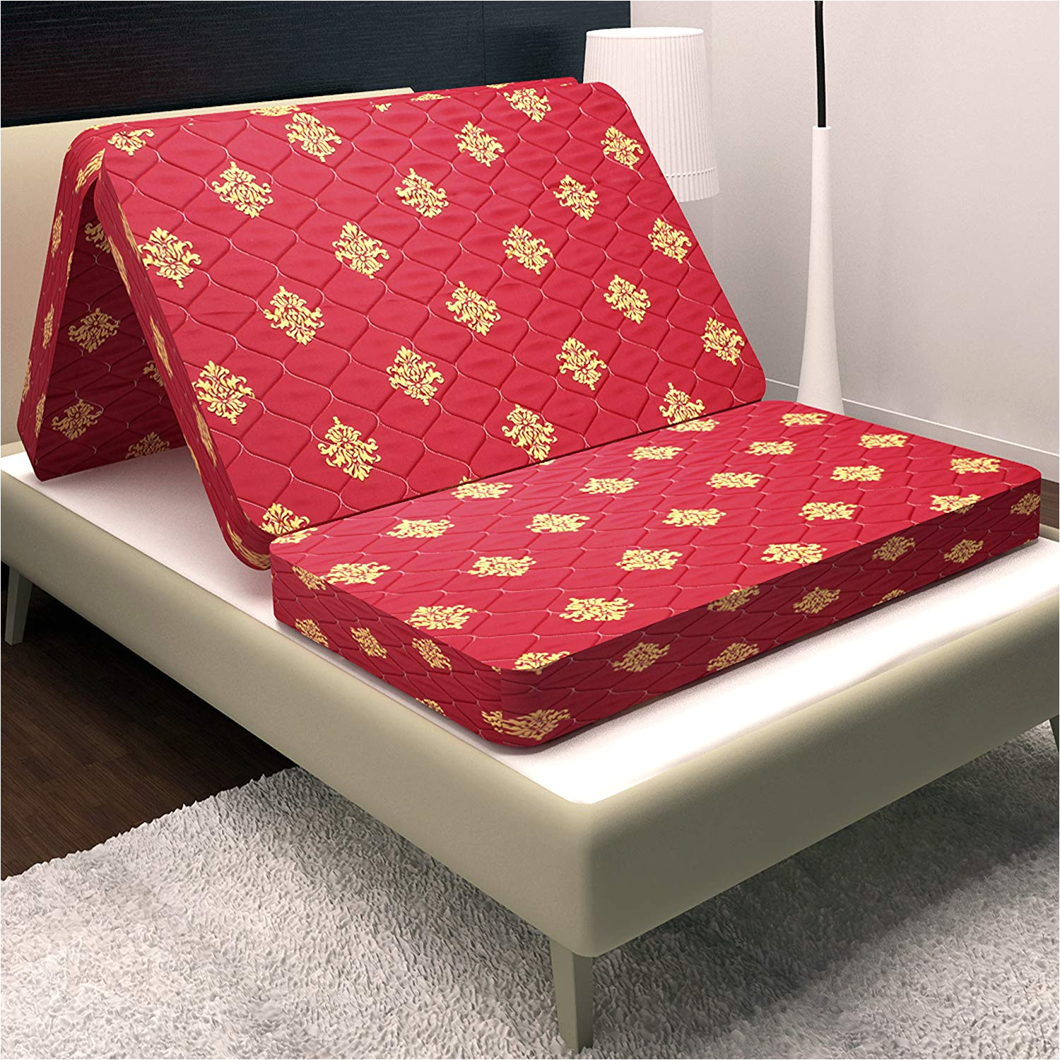 story home 4 inch single size foam mattress maroon 72x35x4