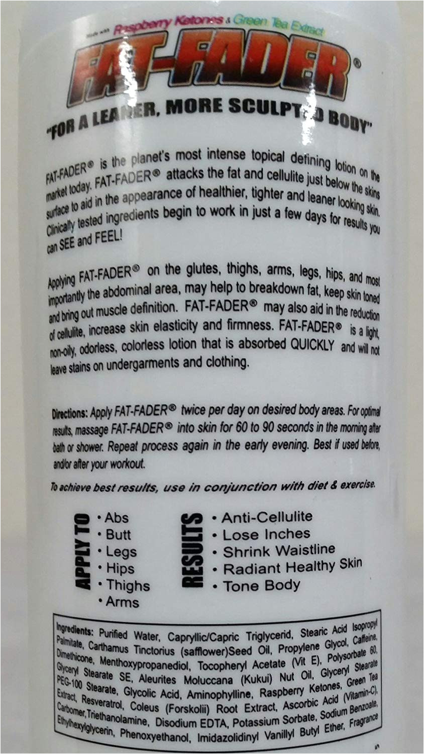 amazon com fat fader body toning lotion w 2 5 aminophylline raspberry ketones 8 fl oz fat fader cream beauty