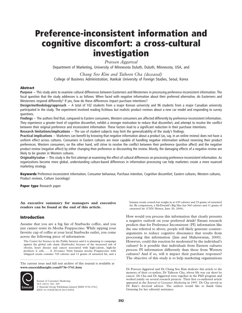 pdf preference inconsistent information and cognitive discomfort a cross cultural investigation