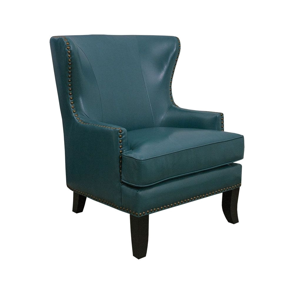 fake leather material for chairs mayfair 1378 01 peacock blue faux leather winged accent chair of