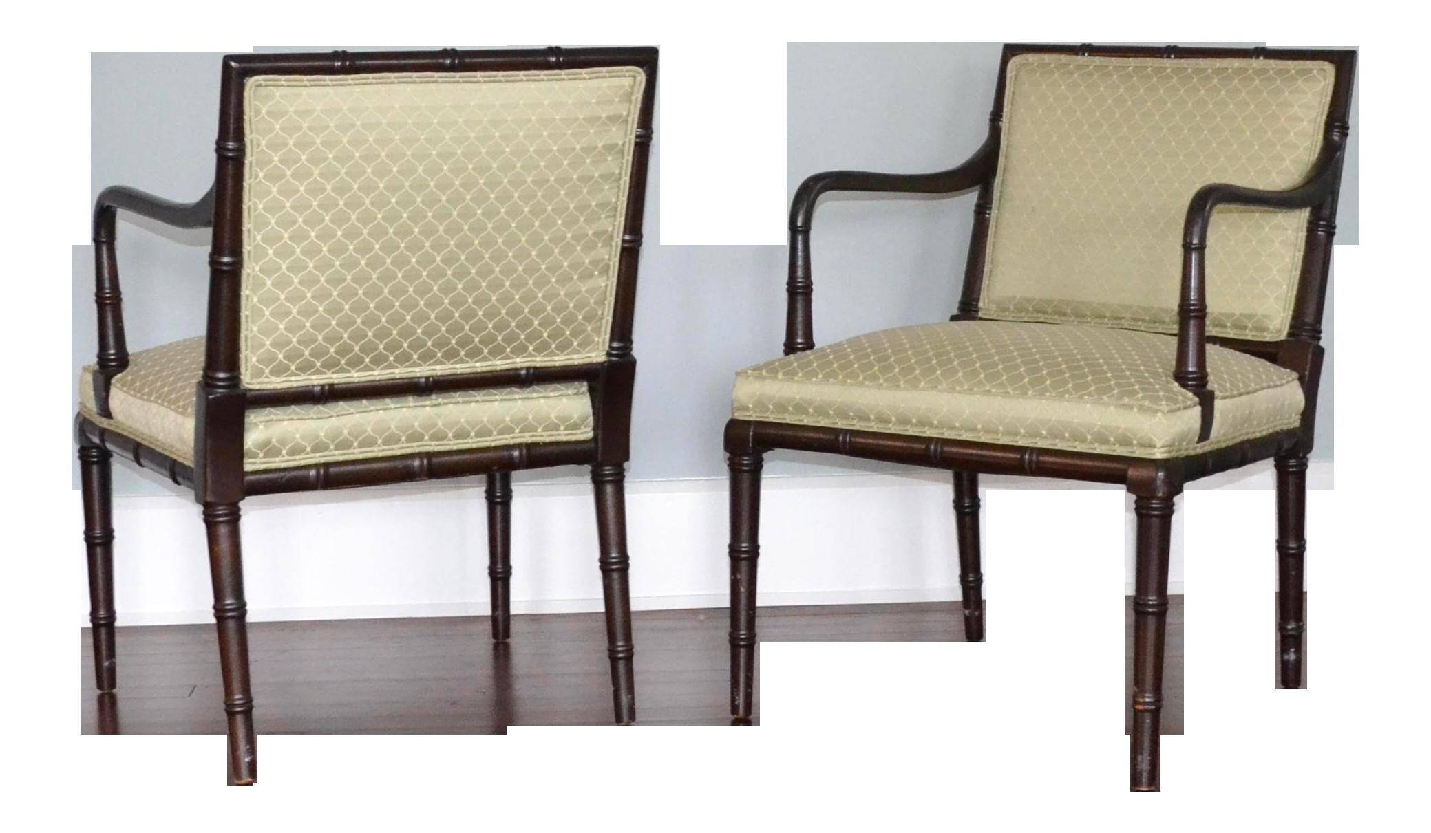 faux bamboo arm chairs a pair 4101