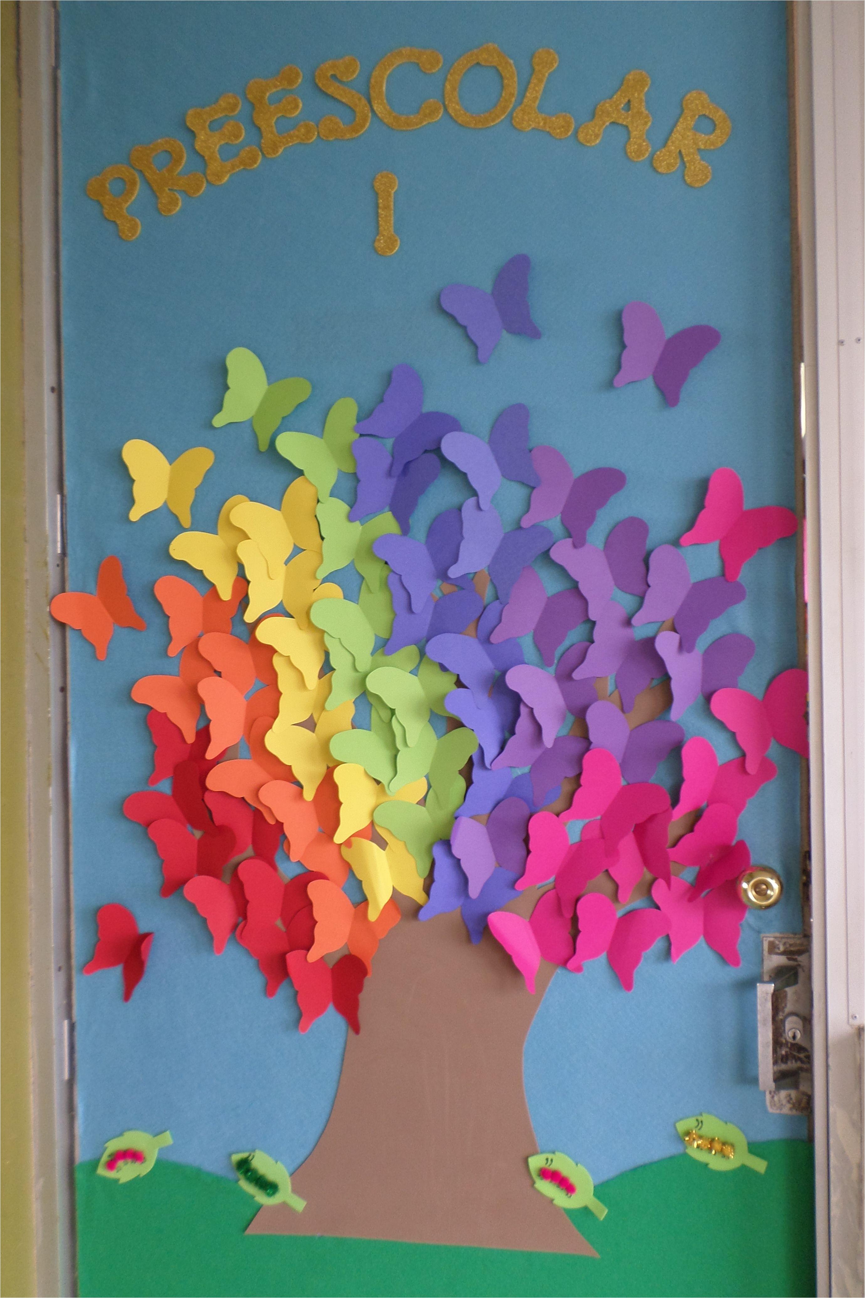 puerta del salon de clases decorada de primavera spring classroom door decoration
