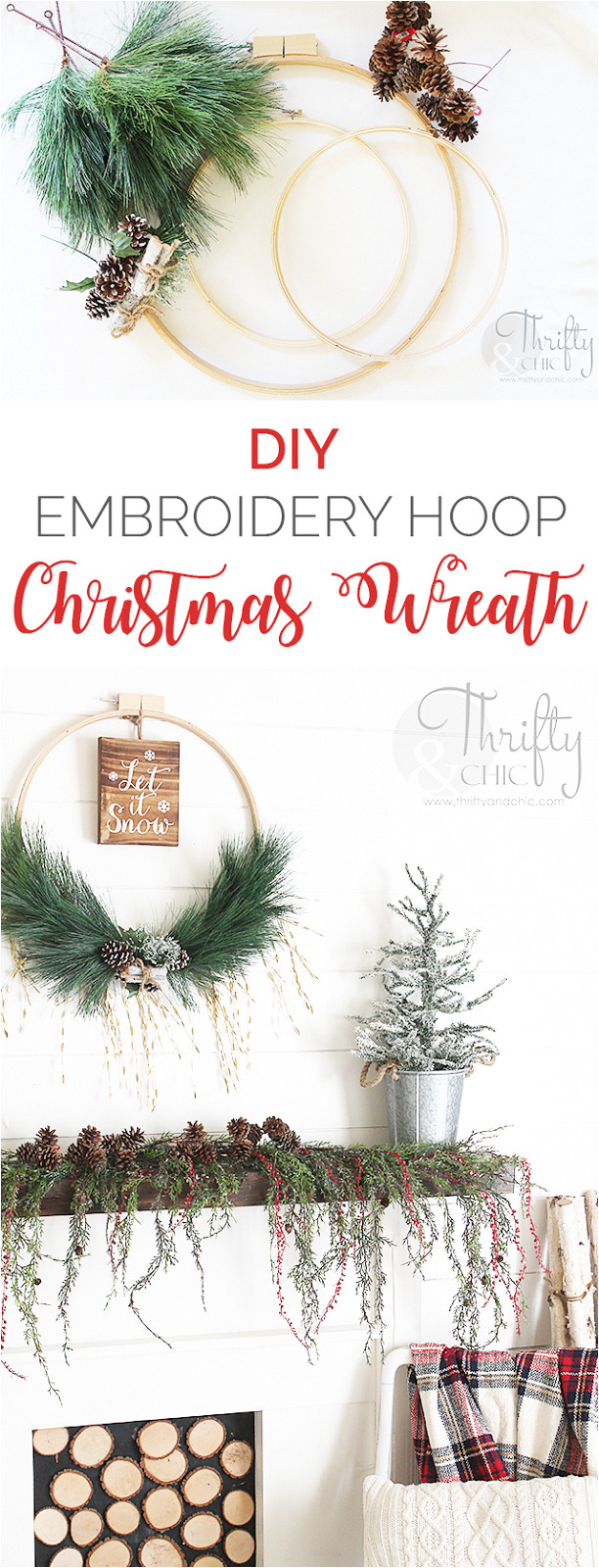 diy christmas wreath made with an embroidery hoop diy christmas decor and decorating ideas farmhouse christmas ideas hobbylobby hobbylobbymade