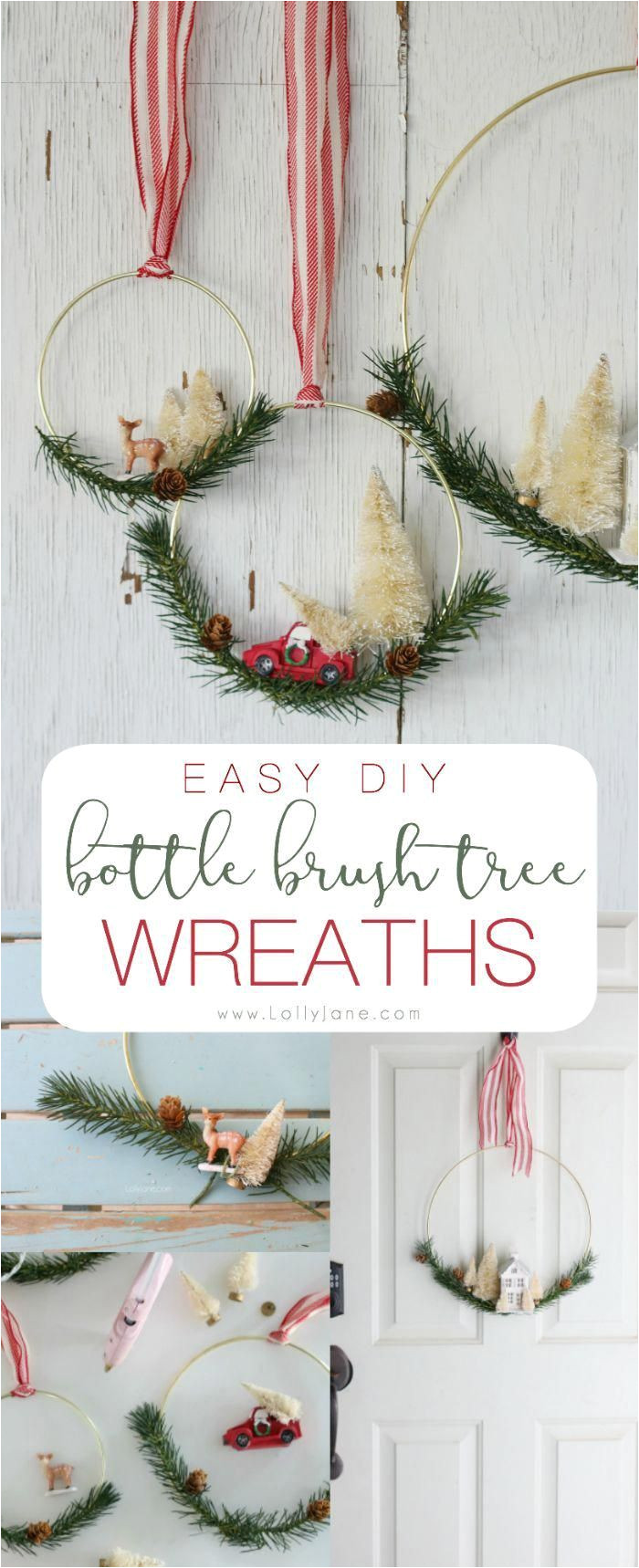 easy diy bottle brush tree wreaths perfect to display at christmas time so cute easy to make in less than an hour christmasdecorationsdiy