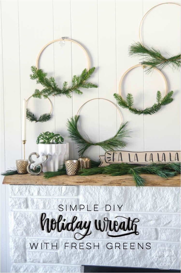 i love these simple hoop wreaths with fresh greenery the perfect amount of christmas without being over the top diy holiday wreath