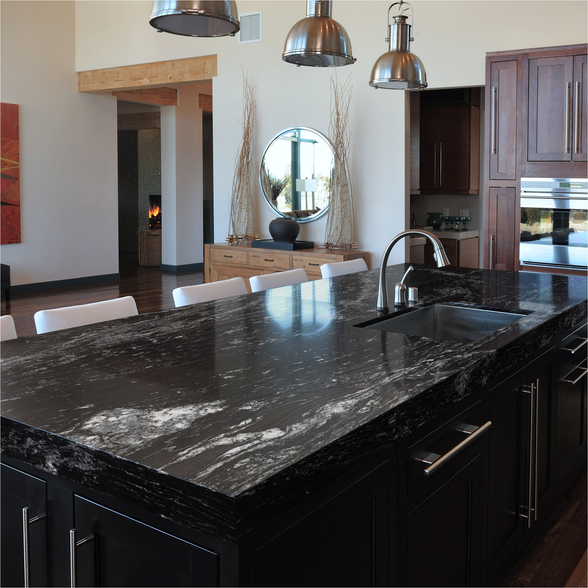 Alaska White Granite with Gray Cabinets Black Beauty Granite Sensa by Cosentino Kitchens Countertops