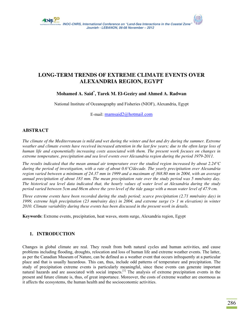 pdf long term trends of extreme climate events over alexandria region egypt