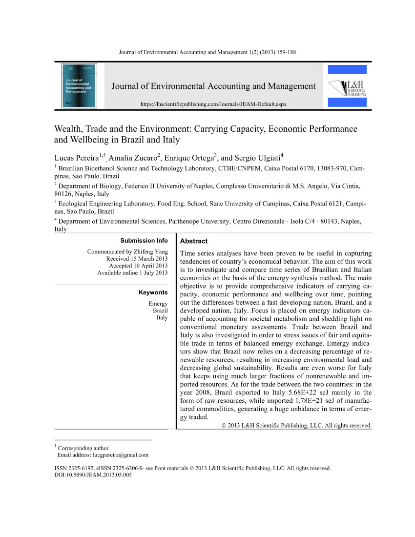 pdf wealth trade and the environment carrying capacity economic performance and wellbeing in brazil and italy
