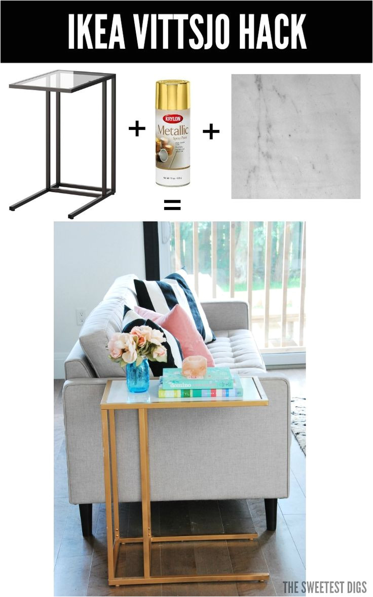 amazing diy turn the ikea vittsjo laptop table into a chic gold and marble side