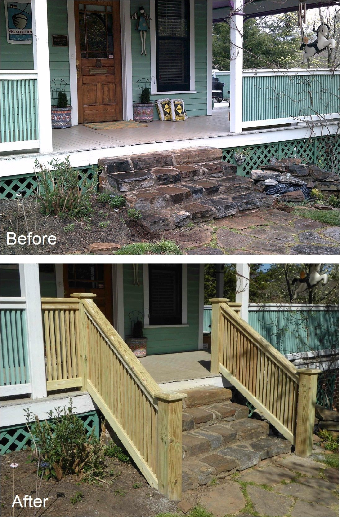 new stair banister to match porch railing on historic home click through to see how it s done