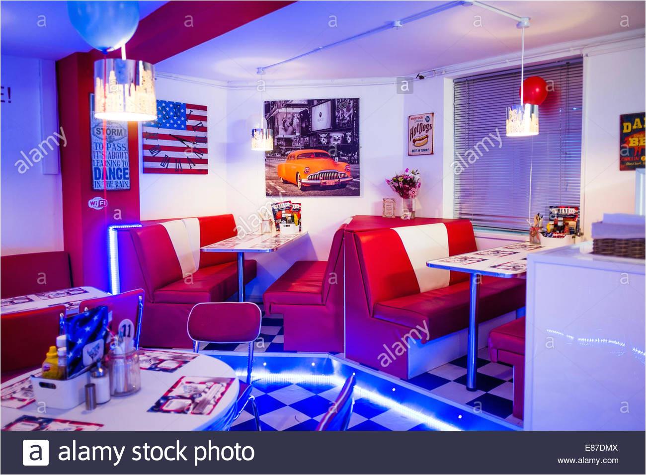 interieur aberyankee american diner stil eingerichtete cafe restaurant aberystwyth uk stockbild