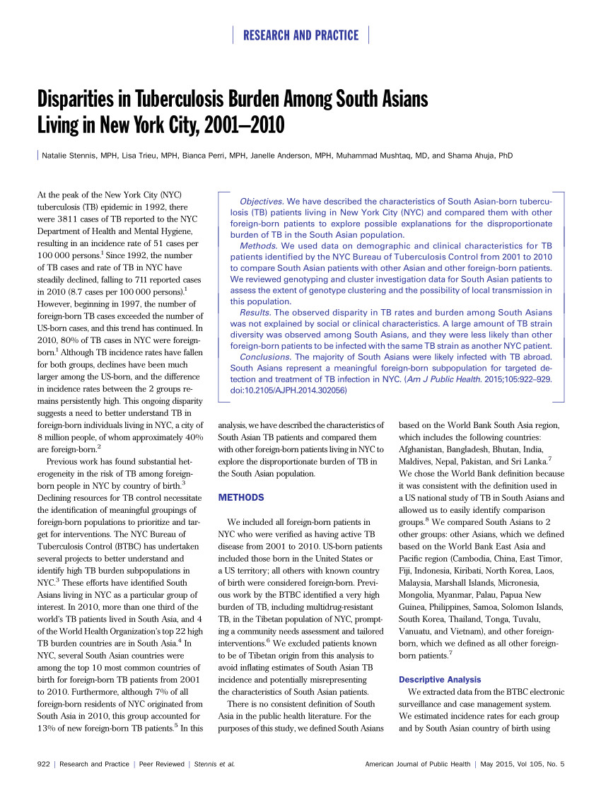 pdf disparities in tuberculosis burden among south asians living in new york city 2001 2010