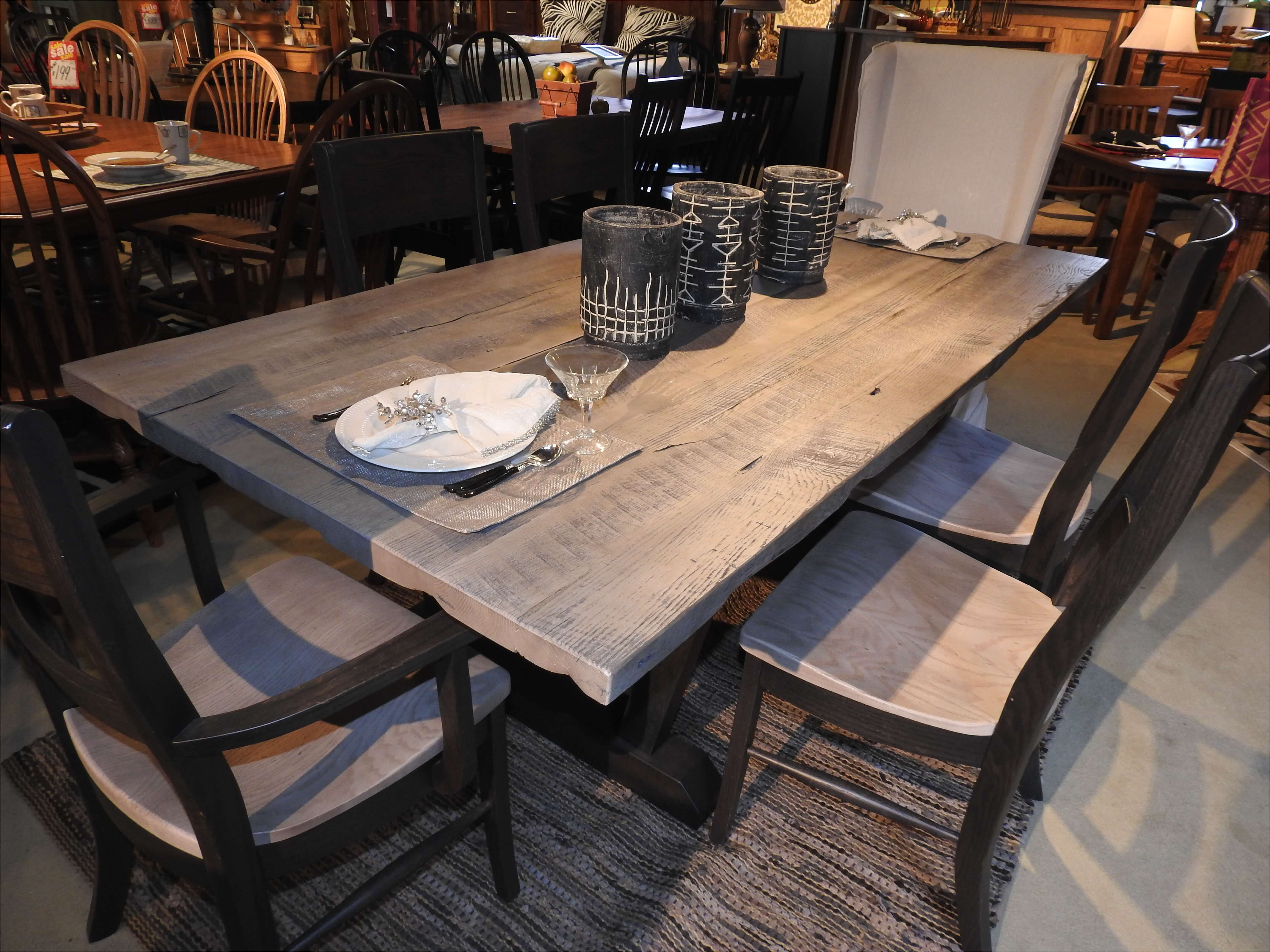 amish made gray farmhouse dining table from custom furniture and accents serving ohio
