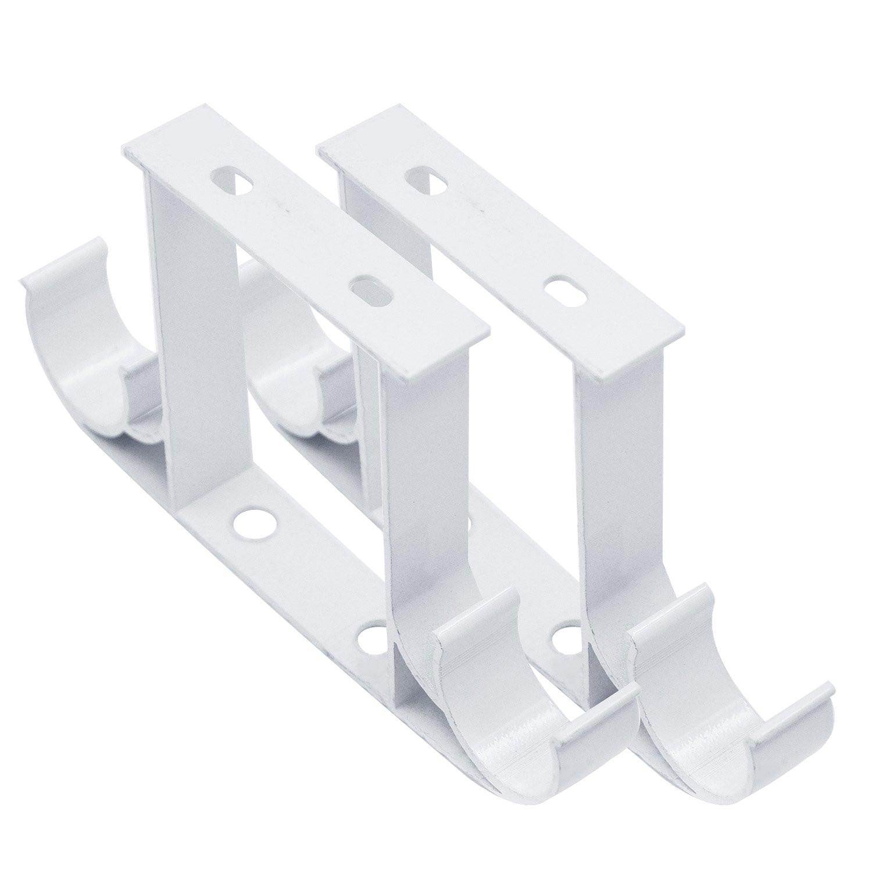 get quotations a 2 pcs roman pole curtain rod drapery pole ceiling mounted double aluminum alloy bracket white