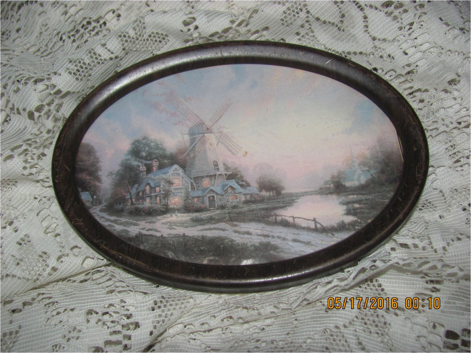 reduced antique early 1900 s victorian windmill house by water print oval metal picture frame by treasuretrovemarket on etsy