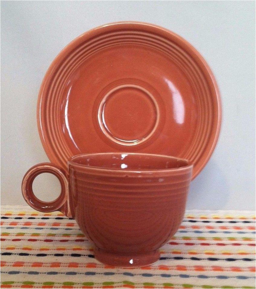 vintage fiestaware rose cup saucer vintage fiesta 50s pink ring handled teacup vintagefiestaware