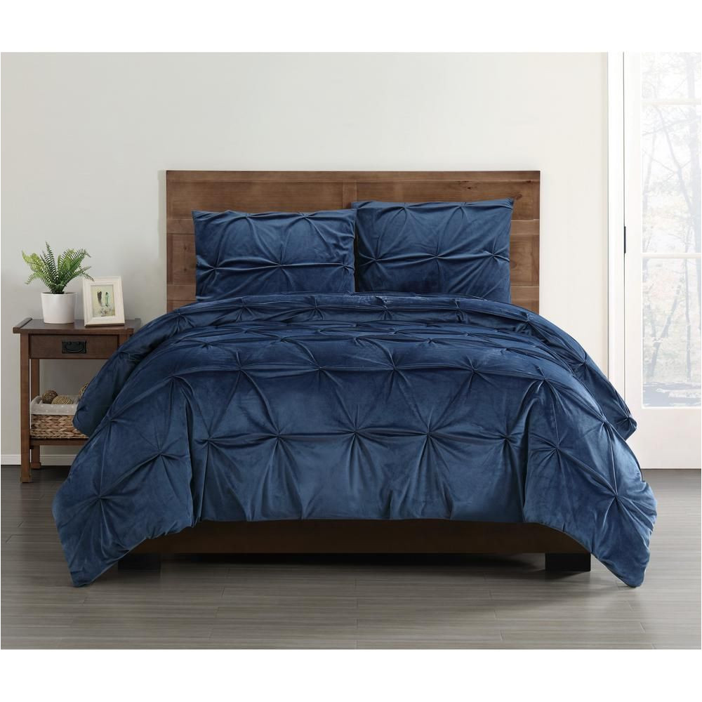 truly soft everyday pleated velvet navy blue twin twin xl comforter set