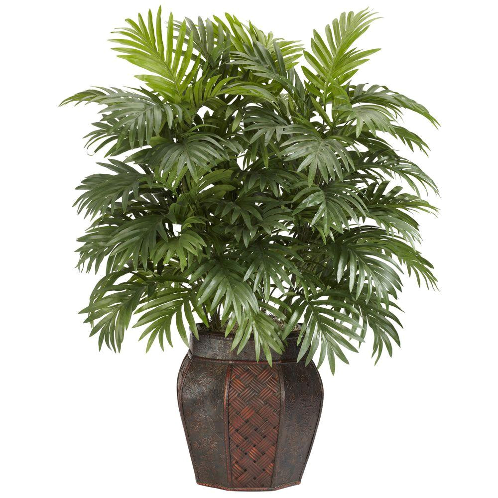 h green areca palm with vase silk plant 6651 the home depot