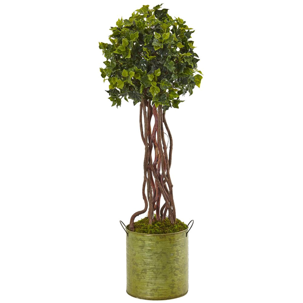 nearly natural indoor outdoor english ivy artificial tree in metal planter uv resistant