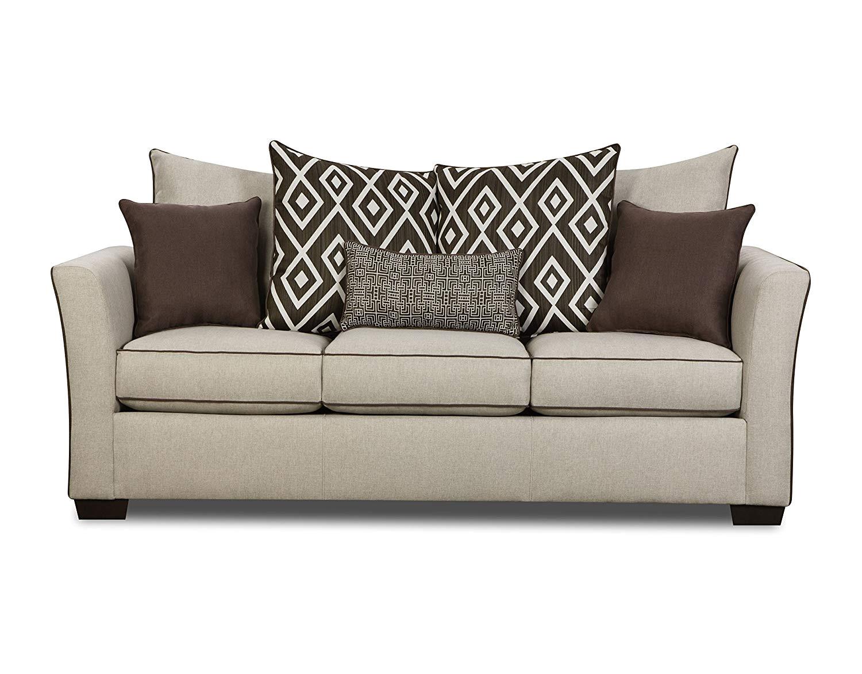 amazon com simmons upholstery 4202 03 linen stewart sofa tan kitchen dining