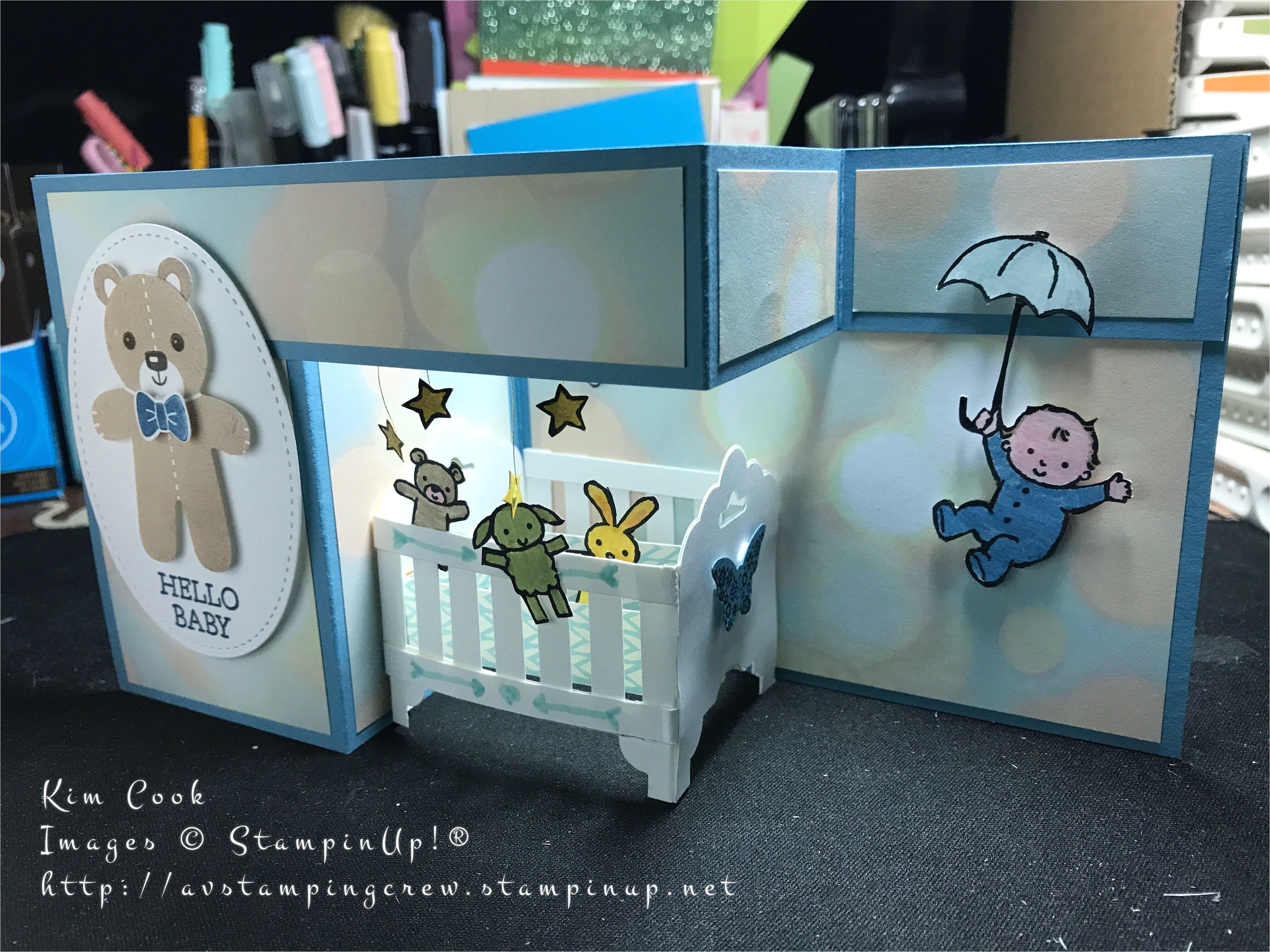 baby crib 3d z fold card