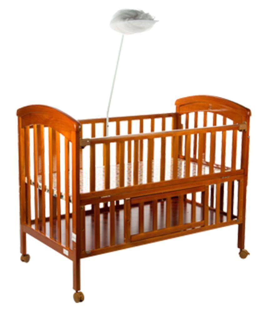 mee mee wooden baby cot with cradle cream