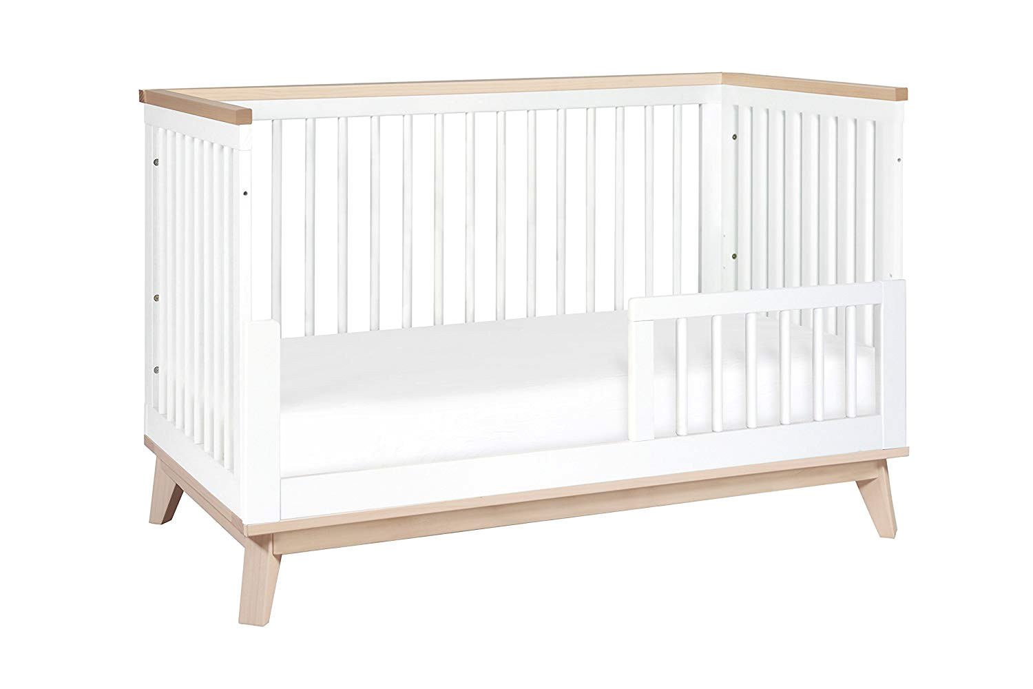 amazon com babyletto scoot 3 in 1 convertible crib with toddler bed conversion kit white washed natural baby