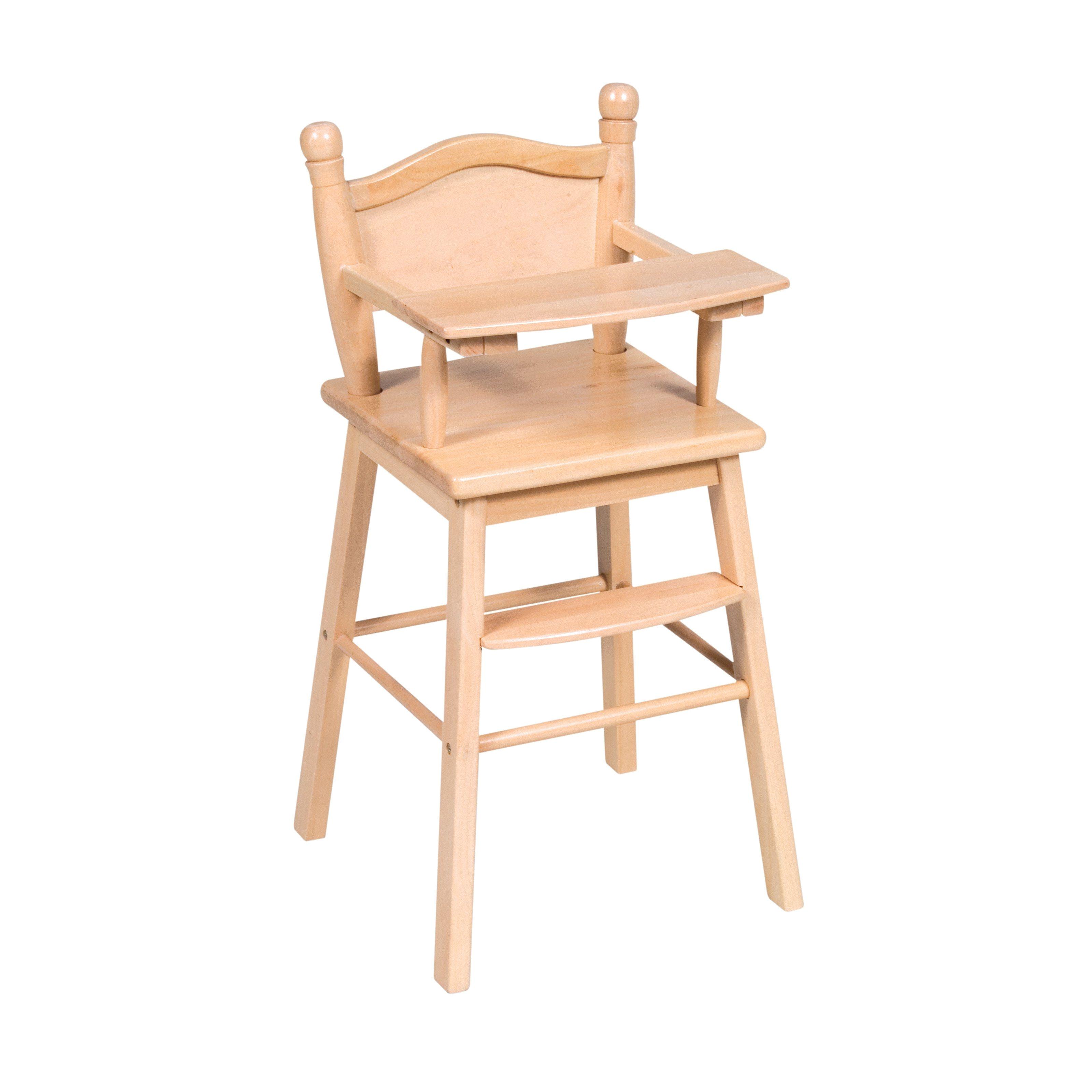 natural wood doll high chair