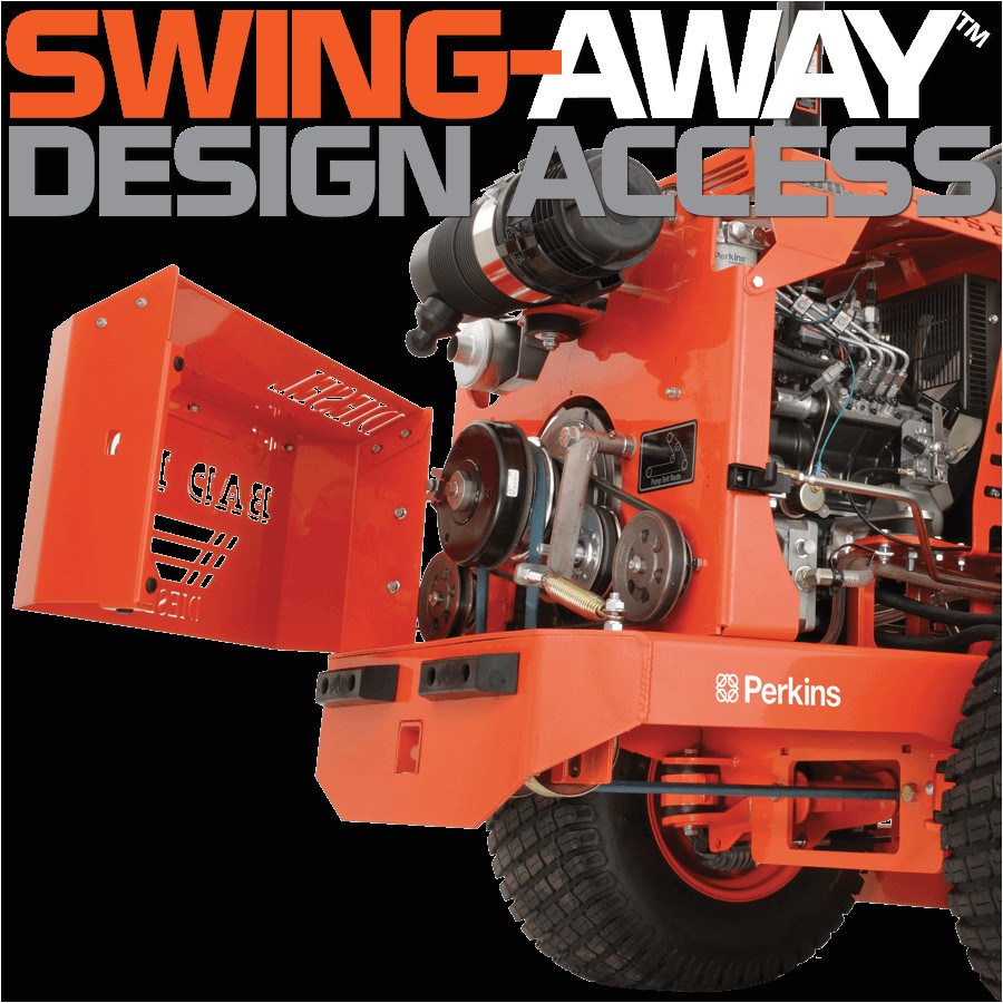 swing away design access on the full size diesel zero turn lawn mower an