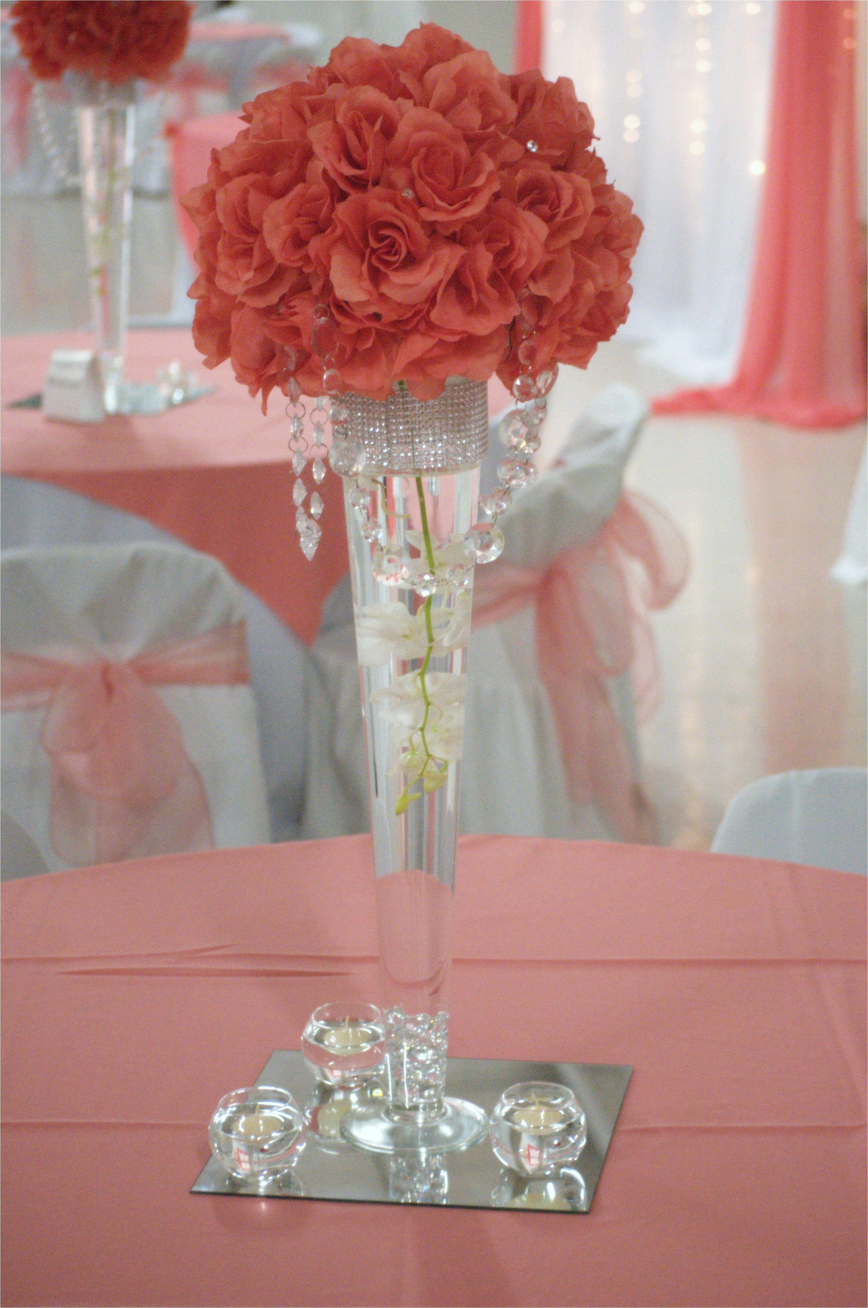 centros de mesa de cristal a wedding centerpieces coral wedding but with silver branchs coming out of the top of the