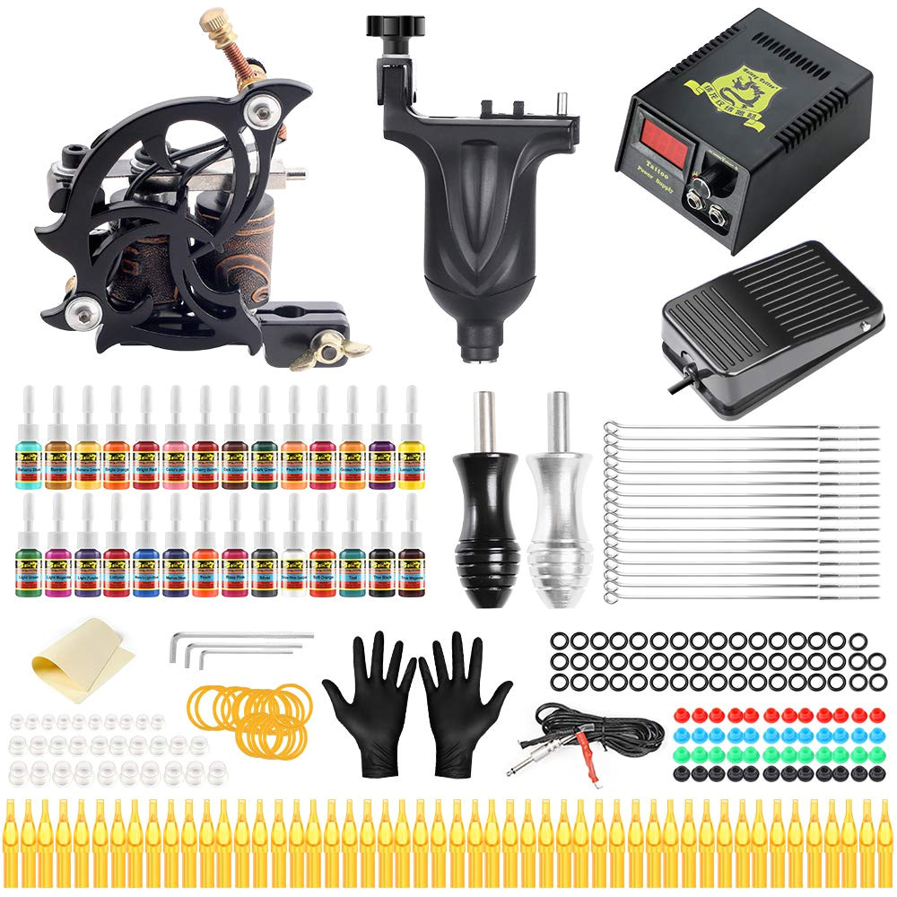solong complete tattoo kit 2 pro tattoo machine kit rotary and coil tattoo machine gun for