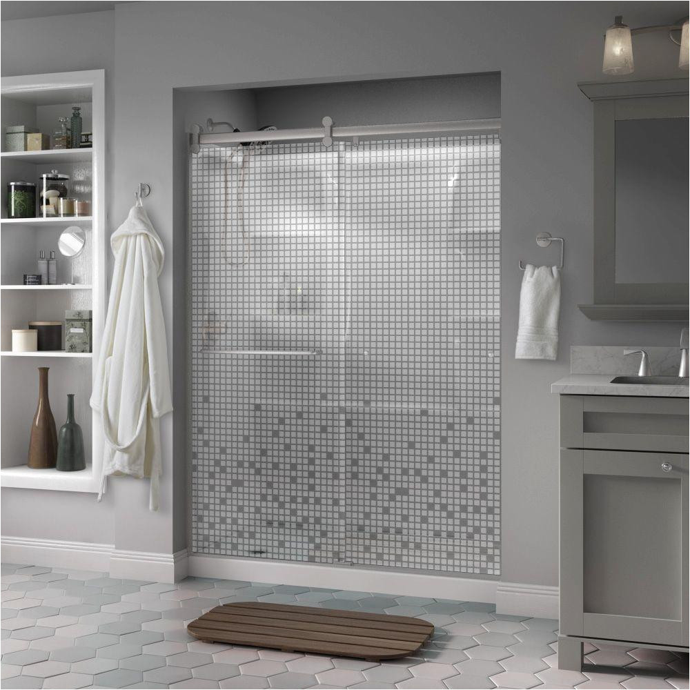 semi frameless contemporary sliding shower door