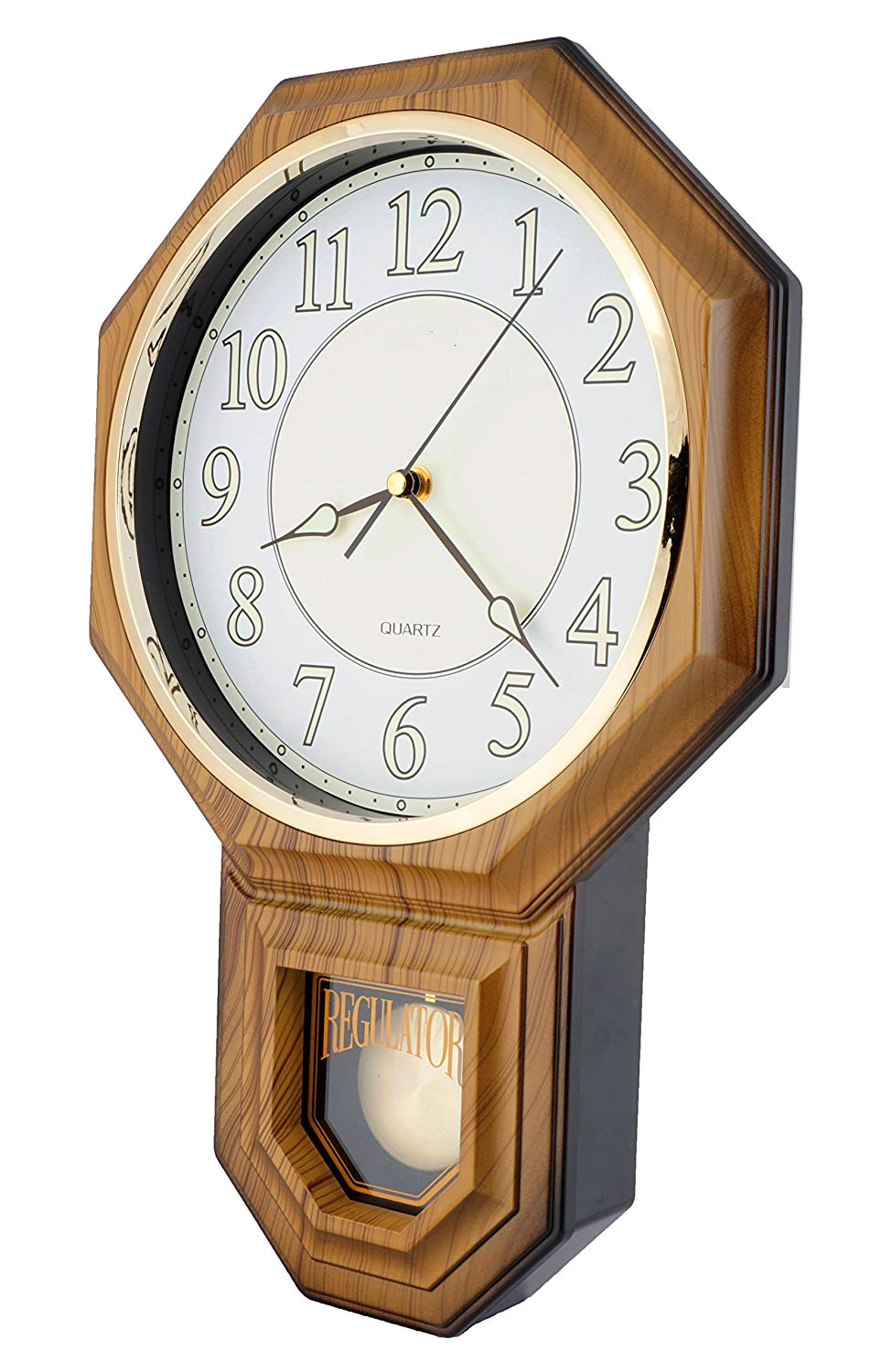 amazon com justime traditional schoolhouse pendulum luminous wall clock chimes hourly with westminster melody made in taiwan pp0258 l lw light wood