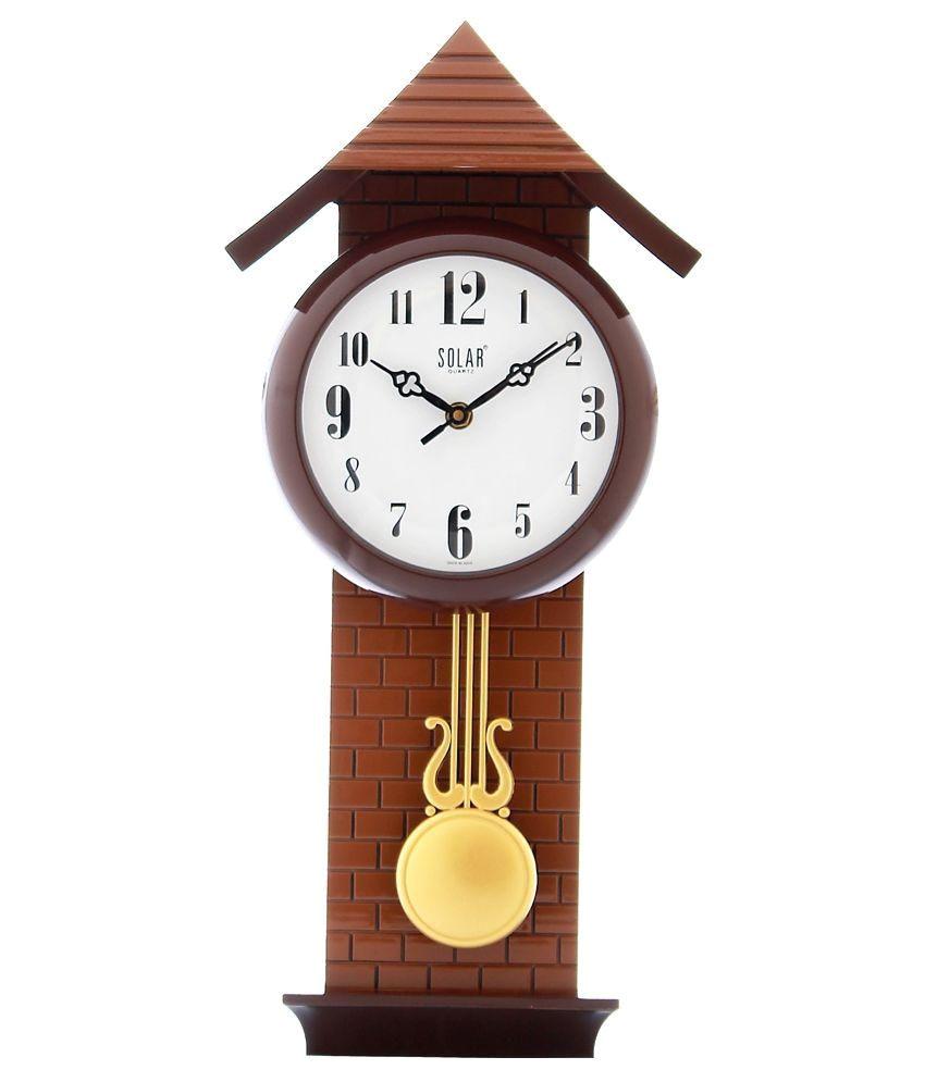 fieesta brown solar analog pendulum wall clock