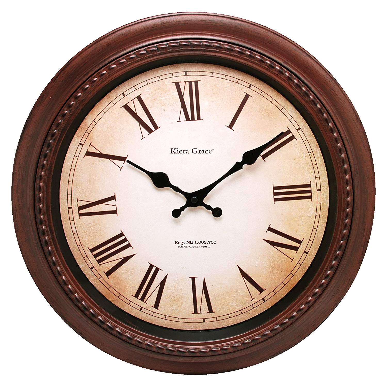 amazon com kiera grace doone round wall clock 16 inch 2 inch deep brushed dark brown home kitchen