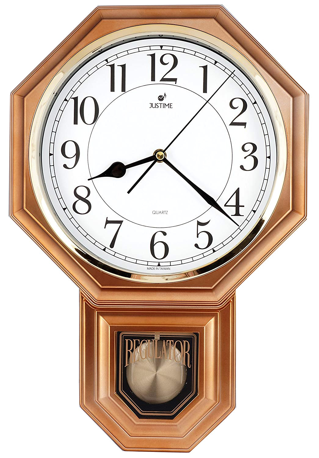 amazon com traditional schoolhouse easy to read pendulum plastic wall clock chimes every hour with westminster melody made in taiwan 4aa batteries