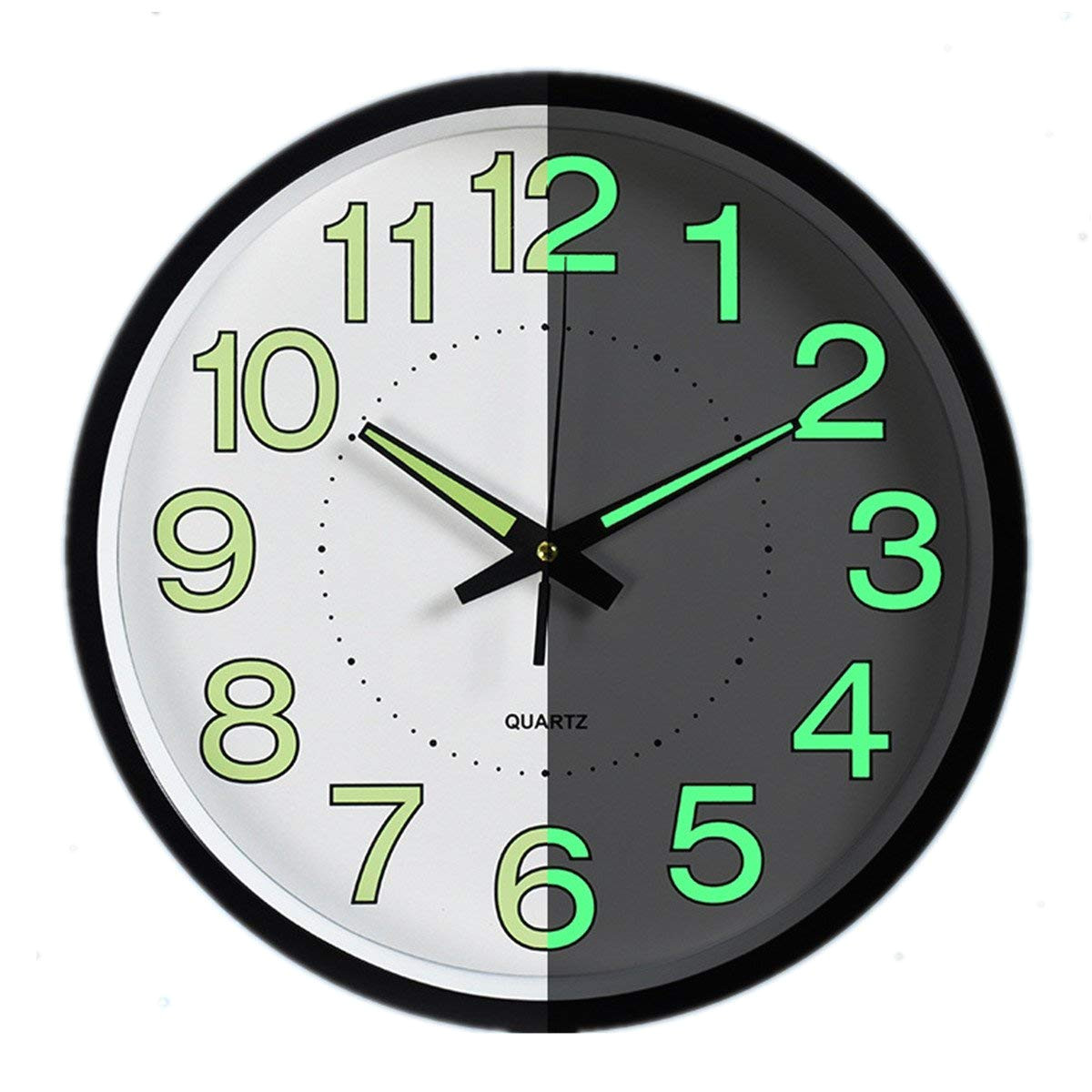 night light clock foxtop 12 inch silent non ticking large wall clock with glowing hands luminous numerals amazon co uk kitchen home