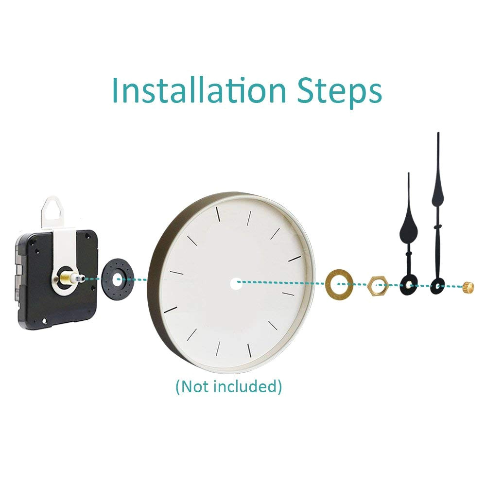 quartz diy wall clock movement mechanisms battery powered diy repair parts replacement with hands 0 71 inch total shaft length 2 years warranty